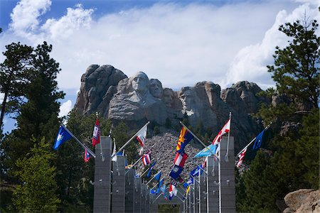 Flags Lining Entrance to Mount Rushmore, South Dakota, USA Stock Photo - Rights-Managed, Code: 700-06144811