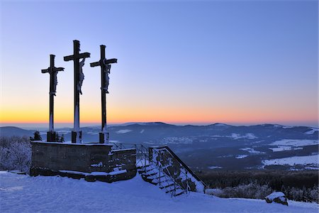 religious cross nobody - Crosses on the Top of Kreuzberg at Dusk, Rhoen Mountains, Bavaria, Germany Stock Photo - Rights-Managed, Code: 700-06144820