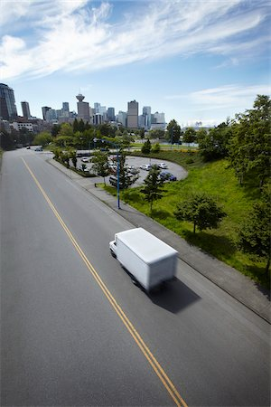 White Delivery Van Heading Towards Downtown, Vancouver, British Columbia, Canada Stock Photo - Rights-Managed, Code: 700-06144879