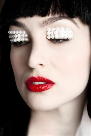 Close-Up of Woman with Pearls on Eyelids Stock Photo - Rights-Managed, Code: 700-06145089