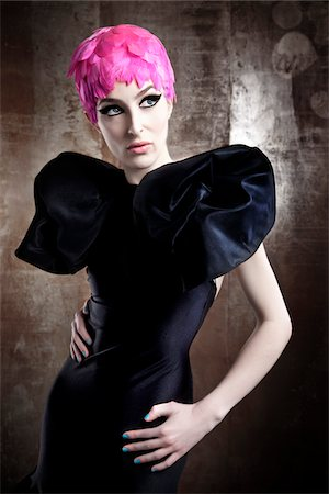 Portrait of Woman Wearing Black Dress and Pink Wig Stock Photo - Rights-Managed, Code: 700-06145094
