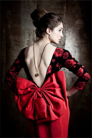 rear - Portrait of Woman Wearing Red Dress Stock Photo - Rights-Managed, Code: 700-06145091