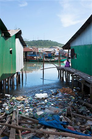 Garbage Littered Shoreline in Fishing Village, Sianhoukville, Cambodia Stock Photo - Rights-Managed, Code: 700-06190656