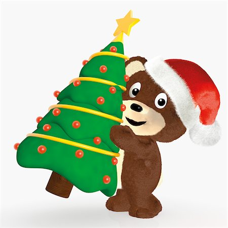 stars on white background - Teddy Bear Carrying Christmas Tree Stock Photo - Rights-Managed, Code: 700-06302306