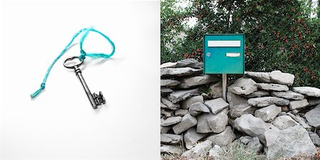 Diptych of Key on String and Corresponding Door Stock Photo - Rights-Managed, Code: 700-06334370
