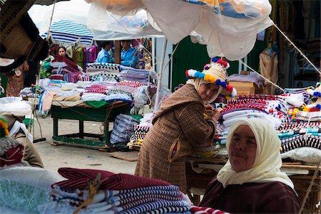 Textile Vendors at Street Market, Medina, Tetouan, Morocco Stock Photo - Rights-Managed, Code: 700-06334557