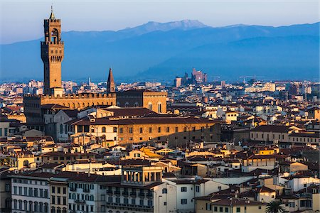 Clock Tower, Uffizi Gallery and City, Florence, Tuscany, Italy Stock Photo - Rights-Managed, Code: 700-06334641