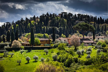 Homes and Hills Surrounding Florence, Tuscany, Italy Stock Photo - Rights-Managed, Code: 700-06334652