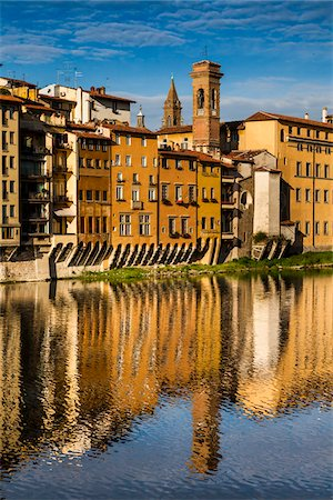 Buildings Lining Arno River, Florence, Tuscany, Italy Stock Photo - Rights-Managed, Code: 700-06334664
