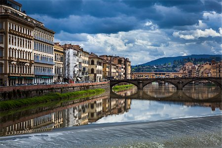 Buildings Alongside Arno River, Florence, Tuscany, Italy Stock Photo - Rights-Managed, Code: 700-06334662