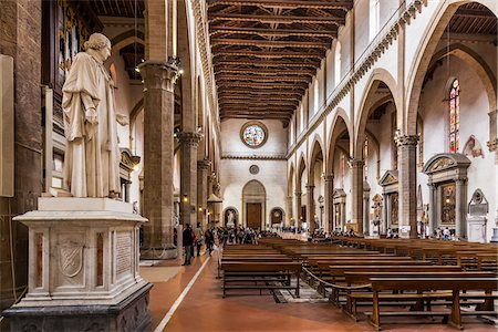 Interior of Basilica of Santa Croce, Piazze Santa Croce, Florence, Tuscany, Italy Stock Photo - Rights-Managed, Code: 700-06334697