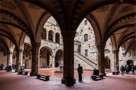 Inner Courtyard of Bargello Museum, Florence, Tuscany, Italy Stock Photo - Rights-Managed, Code: 700-06334702