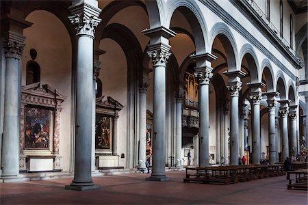 Interior of Santo Spirito Basilica, Florence, Tuscany, Italy Stock Photo - Rights-Managed, Code: 700-06334723