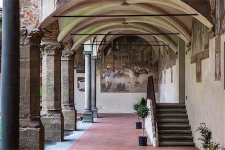 Cloister of Chiesa di Ognissanti, Florence, Tuscany, Italy Stock Photo - Rights-Managed, Code: 700-06334734