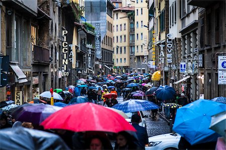 people with umbrellas in the rain - Busy Street on Rainy Day, Florence, Tuscany, Italy Stock Photo - Rights-Managed, Code: 700-06334755
