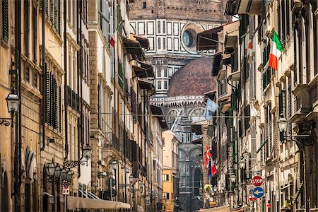 View of Basilica di Santa Maria del Fiore at end of Street, Florence, Tuscany, Italy Stock Photo - Rights-Managed, Code: 700-06334765