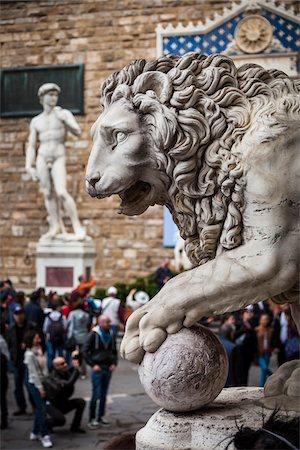 statue of david - Statue of David and Lion Statue, Piazza della Signoria, Florence, Italy Stock Photo - Rights-Managed, Code: 700-06334791