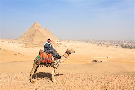 egypt - Man on Camel in front of Great Pyramids at Giza, Egypt Stock Photo - Rights-Managed, Code: 700-06355303