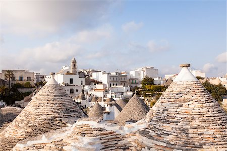 Trulli Houses and View of City, Alberobello, Province of Bari, Puglia, Italy Stock Photo - Rights-Managed, Code: 700-06355355
