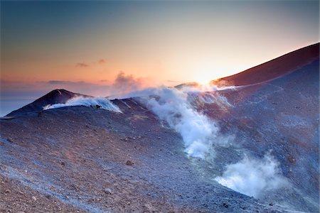 Gran Cratere at Sunrise, Vulcano Island, Aeolian Islands, Italy Stock Photo - Rights-Managed, Code: 700-06355367