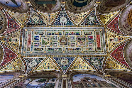 Ceiling of Piccolomini Library, Siena Cathedral, Siena, Tuscany, Italy Stock Photo - Rights-Managed, Code: 700-06367768