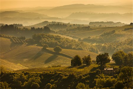 Farmland and Rolling Hills, San Gimignano, Siena Province, Tuscany, Italy Stock Photo - Rights-Managed, Code: 700-06367916
