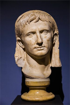 Marble Head of Young Augustus, National Archaeological Museum of Chiusi, Chiusi, Tuscany, Italy Stock Photo - Rights-Managed, Code: 700-06368024