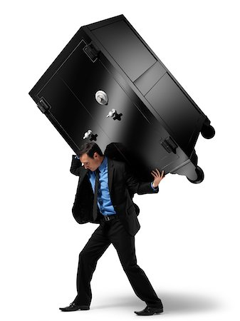 Businessman Carrying Large Safe on his Back Stock Photo - Rights-Managed, Code: 700-06368050