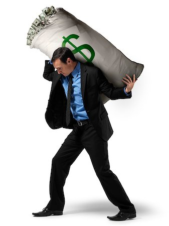 Businessman Carrying Large Sack of Money on Back Stock Photo - Rights-Managed, Code: 700-06368051