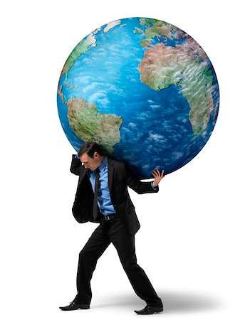Businessman Carrying Globe on Back Stock Photo - Rights-Managed, Code: 700-06368052