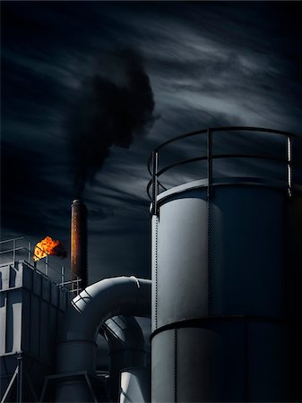 refinery - Industrial Building at Night Stock Photo - Rights-Managed, Code: 700-06368064