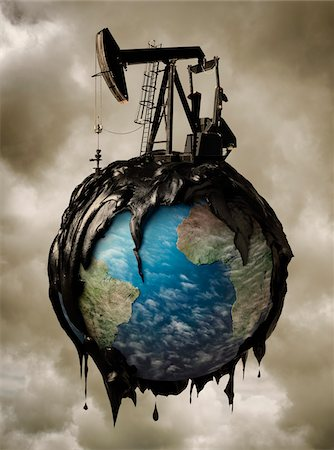 Oil Pump Spilling Oil over Globe Stock Photo - Rights-Managed, Code: 700-06368065
