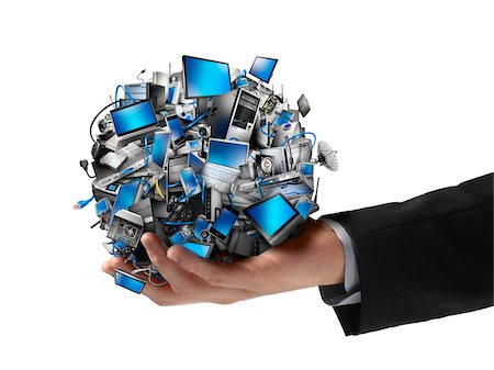 Clos-Uup of Businessman Holding Ball of Electronics Stock Photo - Rights-Managed, Code: 700-06368060