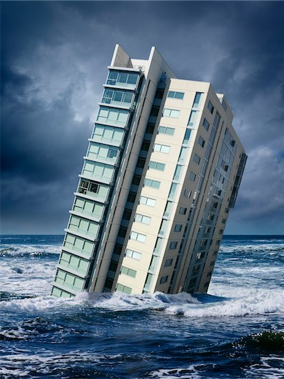 Highrise Floating in Ocean Stock Photo - Premium Rights-Managed, Artist: Marc Simon, Image code: 700-06368075