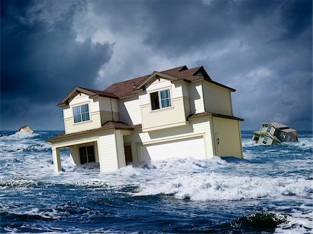 flooded homes - Houses Floating in Ocean Stock Photo - Rights-Managed, Code: 700-06368077
