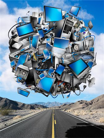 Sphere of Digital Devices Floating Above Desert Highway Stock Photo - Rights-Managed, Code: 700-06368080