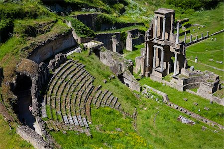 Overview of Roman Theatre Ruins, Volterra, Tuscany, Italy Stock Photo - Rights-Managed, Code: 700-06368139