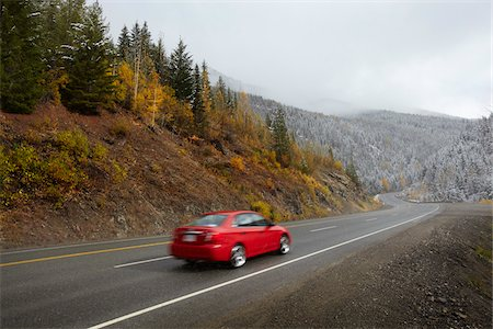 remote car - Red Car Driving on Highway in Mountains Stock Photo - Rights-Managed, Code: 700-06383799