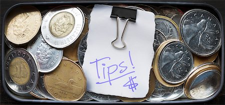 quarter note - Tip Box with Loose Change Stock Photo - Rights-Managed, Code: 700-06383842