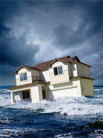 flooded homes - House Floating in Middle of Ocean Stock Photo - Rights-Managed, Code: 700-06383896