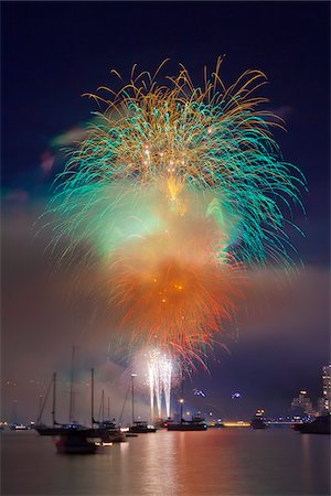 fireworks colored picture - Fireworks in English Bay during Celebration of Light, Vancouver, British Columbia, Canada Stock Photo - Rights-Managed, Code: 700-06383904