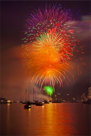 fireworks colored picture - Fireworks in English Bay during Celebration of Light, Vancouver, British Columbia, Canada Stock Photo - Rights-Managed, Code: 700-06383905