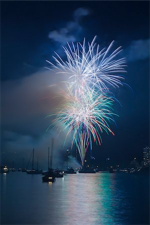fireworks colored picture - Fireworks in English Bay during Celebration of Light, Vancouver, British Columbia, Canada Stock Photo - Rights-Managed, Code: 700-06383906
