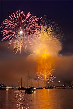 fireworks colored picture - Fireworks in English Bay during Celebration of Light, Vancouver, British Columbia, Canada Stock Photo - Rights-Managed, Code: 700-06383903