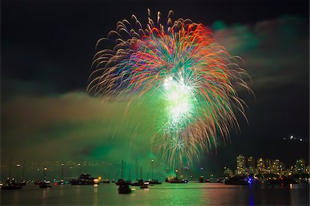 fireworks colored picture - Fireworks in English Bay duringthe Celebration of Light, Vancouver, British Columbia, Canada Stock Photo - Rights-Managed, Code: 700-06383910