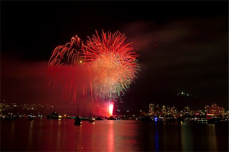 fireworks colored picture - Fireworks in English Bay during Celebration of Light, Vancouver, British Columbia, Canada Stock Photo - Rights-Managed, Code: 700-06383911