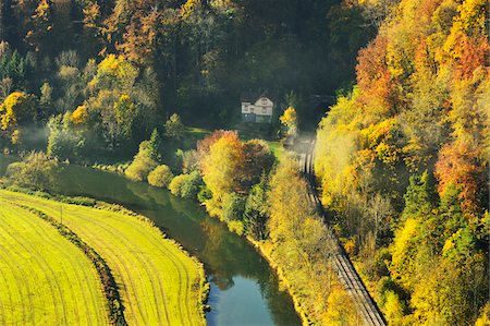 House and Railroad Tracks in Danube Valley, near Beuron, Baden-Wurttemberg, Germany Stock Photo - Rights-Managed, Code: 700-06397553