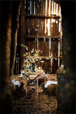 rustic - Dining Table Set in Barn Stock Photo - Rights-Managed, Code: 700-06406828