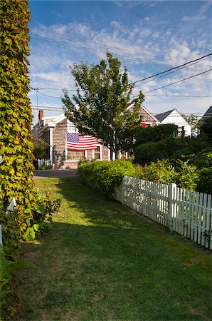 quaint house - American Flag on House as seen from Opposite Side of Street, Provincetown, Cape Cod, Massachusetts, USA Stock Photo - Rights-Managed, Code: 700-06431208