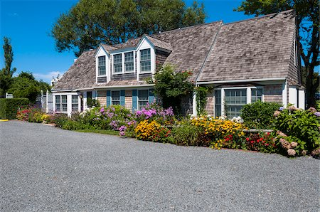 quaint house - Exterior of House with Colorful Flower Garden, Provincetown, Cape Cod, Massachusetts, USA Stock Photo - Rights-Managed, Code: 700-06431219